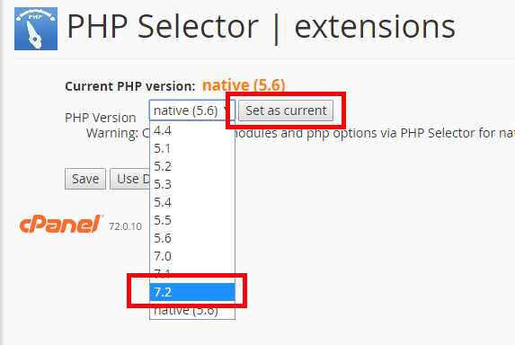 CloudLinux PHP Selector