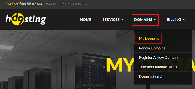 Domains > My Domains